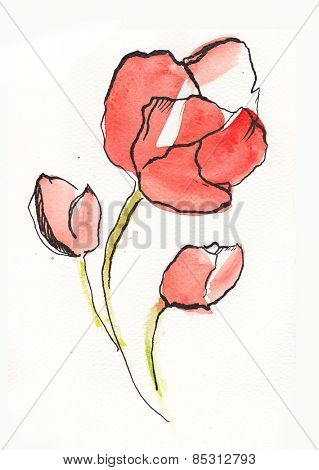 abstract floral watercolor painting with stylized red tulip flowers on white.