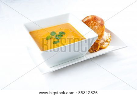Tomato And Chickpea Soup With Grilled Cheese