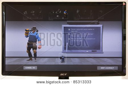 Depew, OK, USA - March 15, 2015: Blue Engy on class selection screen of Team Fortress 2, a team-based first-person shooter multiplayer video game by Valve Corporation, released on October 10, 2007.