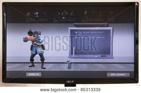 Depew, OK, USA - March 15, 2015: Blu Soldier on class selection screen of Team Fortress 2, a team-based first-person shooter multiplayer video game by Valve Corporation, released on October 10, 2007.