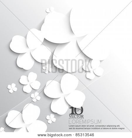 eps10 vector overlapping silhouette white clover leaf background