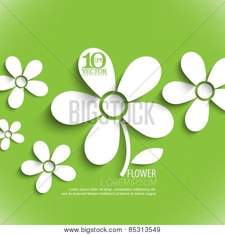 eps10 vector white paper flower elements background