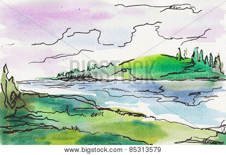 watercolor painted landscape . forest and river