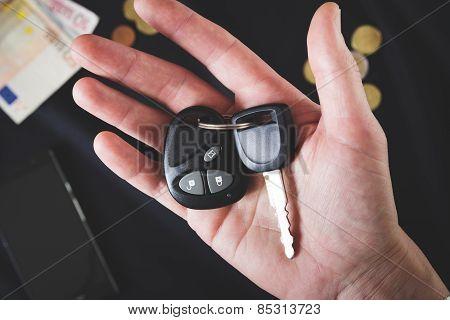 car keys on the male palm