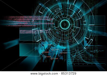 Rendering Of A Futuristic Cyber Background Target With Laser Light Effect