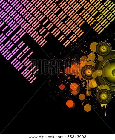 Disco club flyer with a lot of abstract colorful design elements. Ideal for poster,flyers and music