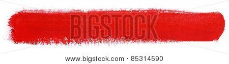 Red Stroke Of Gouache Paint Brush