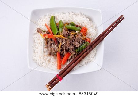 Orange Beef Stir Fry Over White Rice