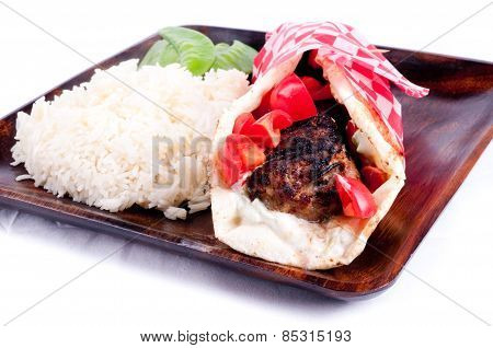Healthy Lean Ground Lamb Gyro With Rice And Peas