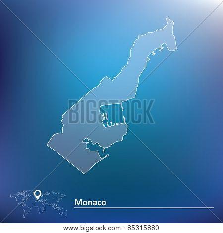 Map of Monaco - vector illustration
