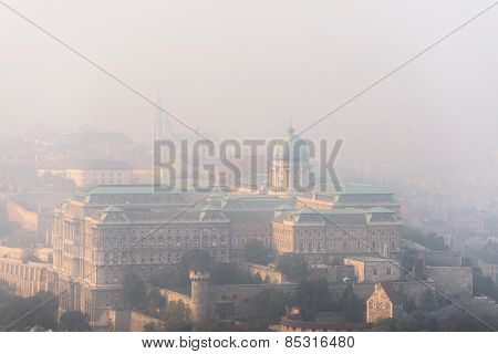 Aerial view of Budapest with large houses
