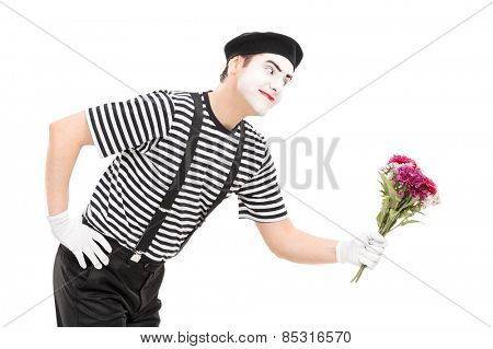 Mime artist giving flowers to someone isolated on white background