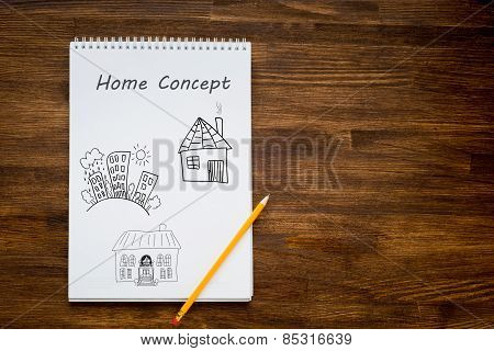 pencil drawing the dream home on a white sheet of paper