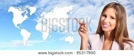 Smiling Woman Shows The International Map