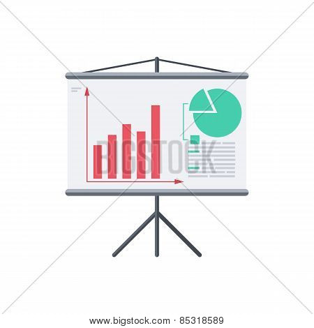 Infographic board screen with diagrams.