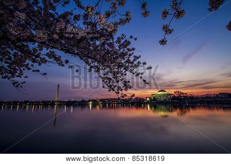Washington Monument and Jefferson Memorial with Tidal Basin at Sunrise