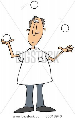 Man juggling white balls