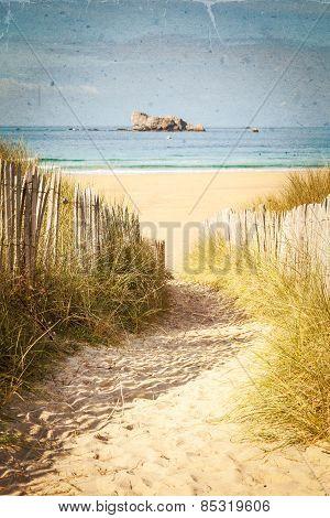 Vintage Beach Texture Postcard