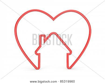 Heart with house shape