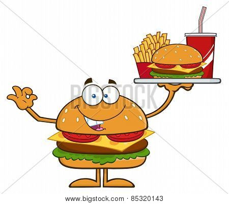 Hamburger Cartoon Character Holding A Platter With Burger, French Fries And A Soda