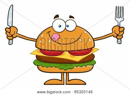 Hungry Hamburger Cartoon Character With Knife And Fork