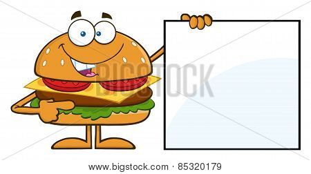 Funny Hamburger Cartoon Character Pointing To A Blank Sign