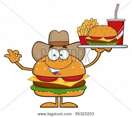 Cowboy Hamburger Cartoon Character Holding A Platter With Burger, French Fries And A Soda