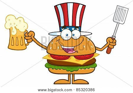 Happy American Hamburger Cartoon Character Holding A Beer And Bbq Slotted Spatula