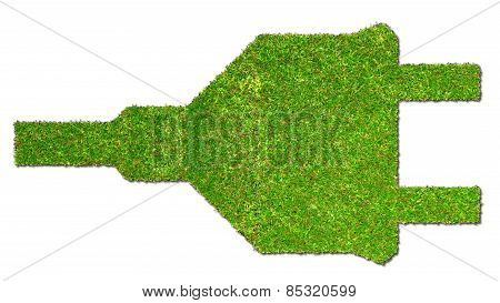 electrical outlet on grass green energy concept