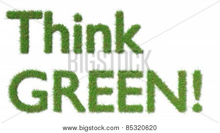 think green sign on grass ecology concept