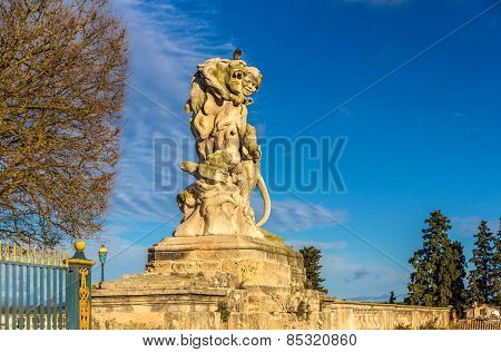 Statue At The Promenade Du Peyrou In Montpellier, France