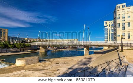 Modern Bridge In Montpellier Over The River Lez - France