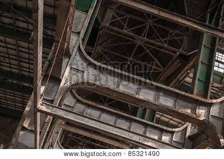 Building frame inside industrial architecture
