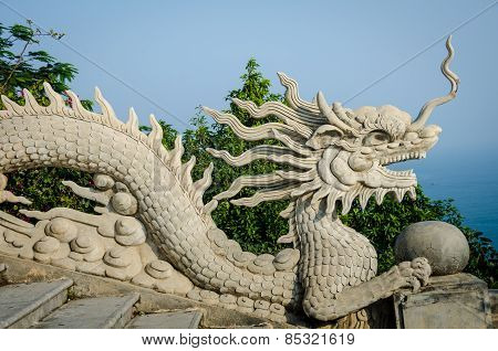 Stone dragons at the Linh Ung Pagoda, Da Nang, Vietnam