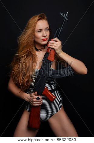 Sexy Fashion Glamour Woman Holding Up Her Weapon Assault Rifle Gun