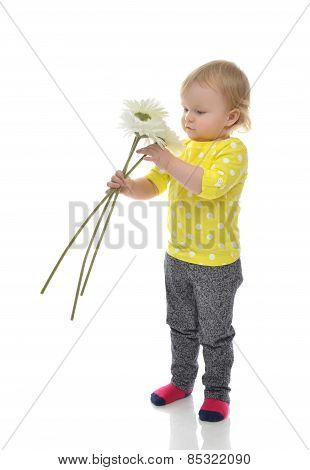Happy Infant Child Baby Toddler Standing With Flowers Isolated
