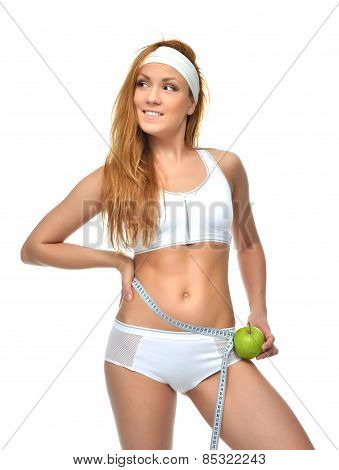 Happy Female Measuring Waist With Tape Measure And Green Apple Emotions Smiling