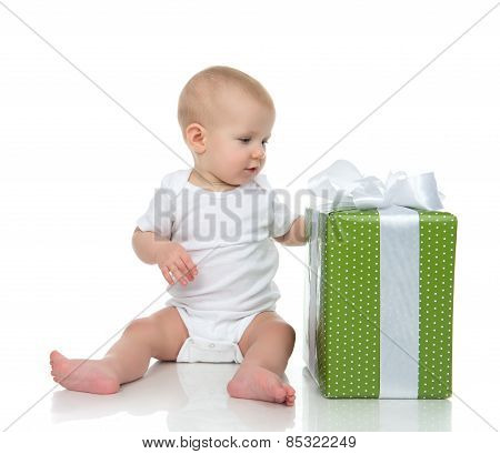 Infant Child Baby Toddler Kid With Green Present Gift For Birthday
