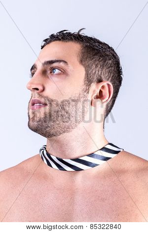 Model with the tie around his neck