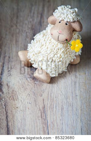 Easter decoration with cute lamb