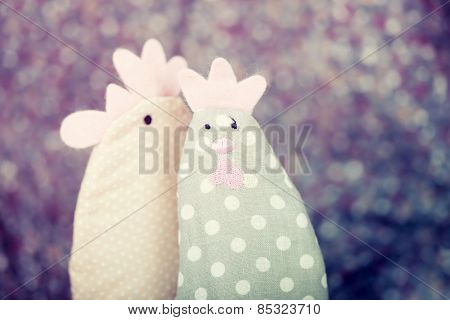 Easter chick and rooster - Retro styled photo