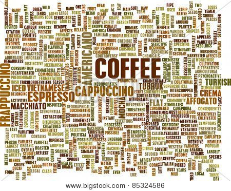 Coffee Background with Different Blends and Types