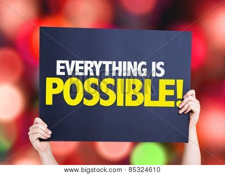 Everything is Possible card with colorful background with defocused lights
