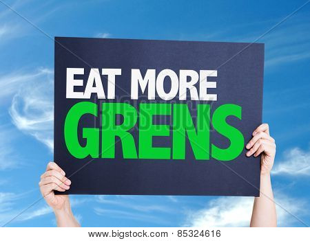 Eat more Greens card with sky background