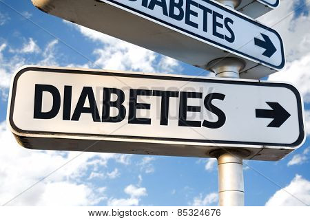 Diabetes direction sign on sky background