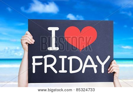 I Love Friday card with beach background