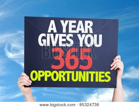 A Year Gives You 365 Opportunities card with sky background