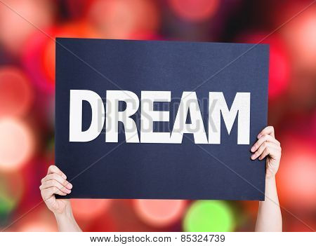 Dream card with colorful background with defocused lights