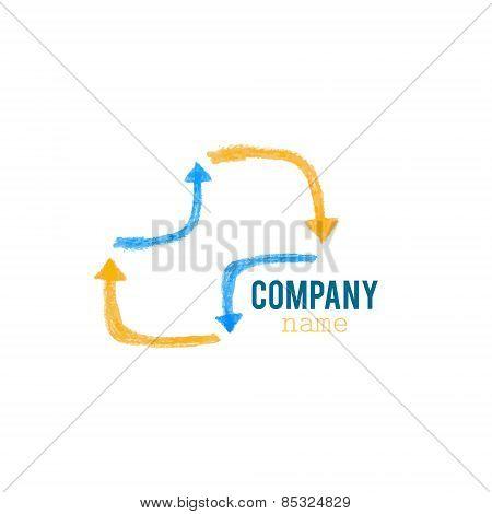 Blue orange arrows infinity logo