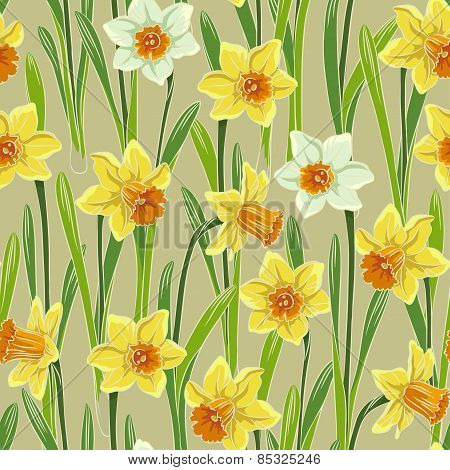 Yellow jonquil daffodil narcissus seamless pattern